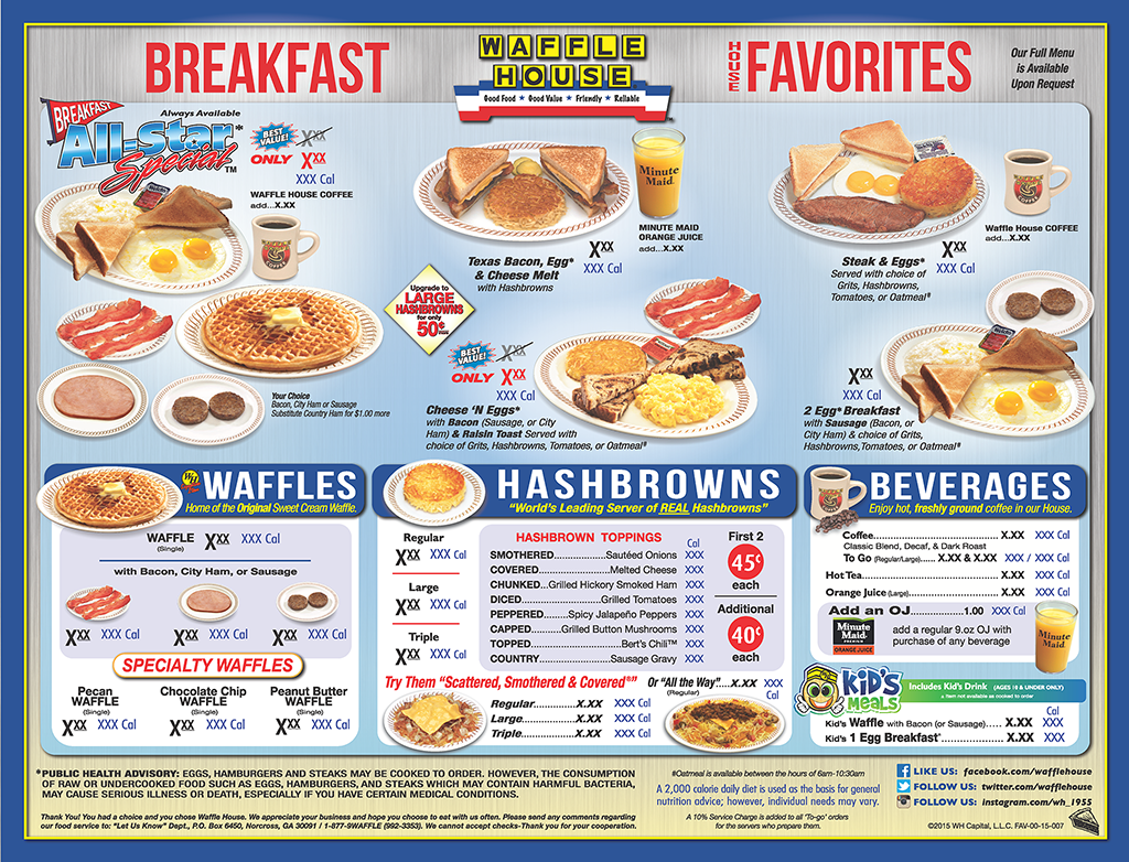 Waffle house menu breakfast 2 waffles bacon and for American cuisine menu