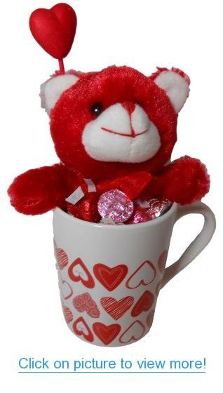 Bundle of 3: Valentine Gift: Red Stuffed Bear, Coffee Cup with Hearts, and Assorted Hershey's Kisses #Bundle #3: #Valentine #Gift: #Red #Stuffed #Bear #Coffee #Cup #Hearts #Assorted #Hersheys #Kisses