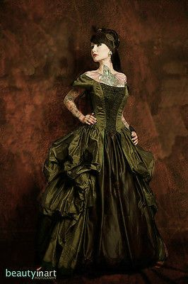Azac Gothic Steampunk Victorian Bustle Ball Gown Corset Dress Many Color Options | eBay