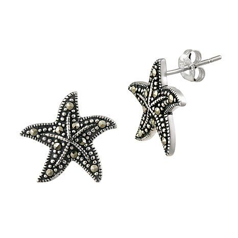 Sterling Silver Marcasite Starfish Earrings