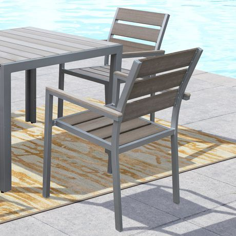 Corliving Gallant Sun Bleached Grey Outdoor Dining Chairs Sun