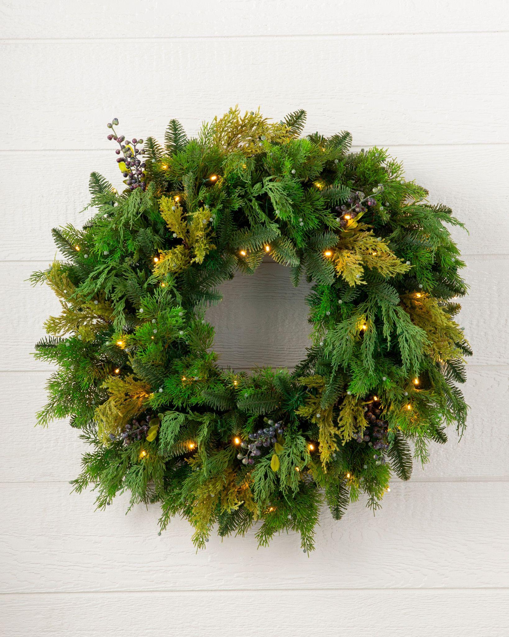 Faux Outdoor Juniper Pine Wreath by Balsam Hill