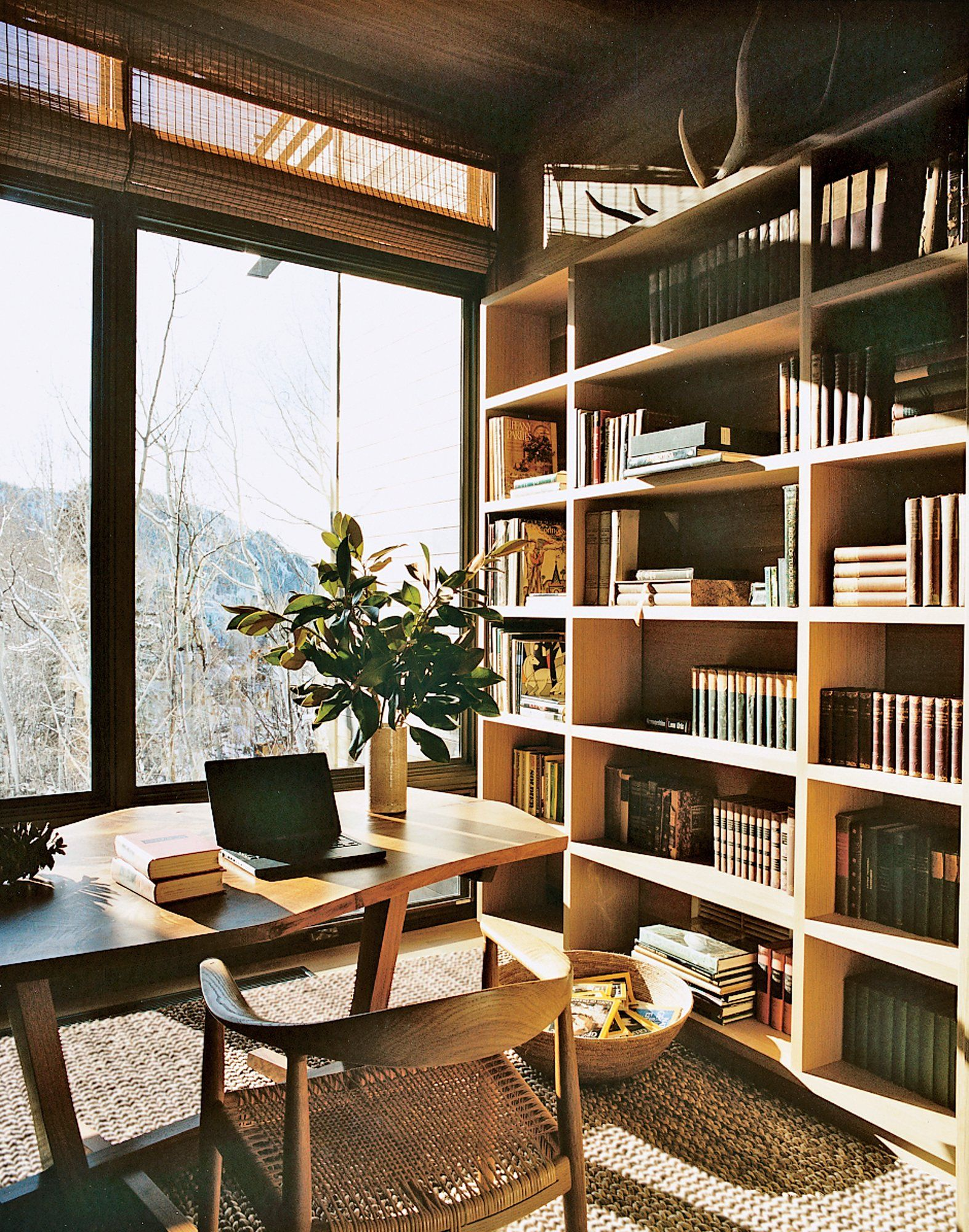 Aerin Lauders Aspen Modern, Light Filled Ski Lodge Library Photographed By Fran