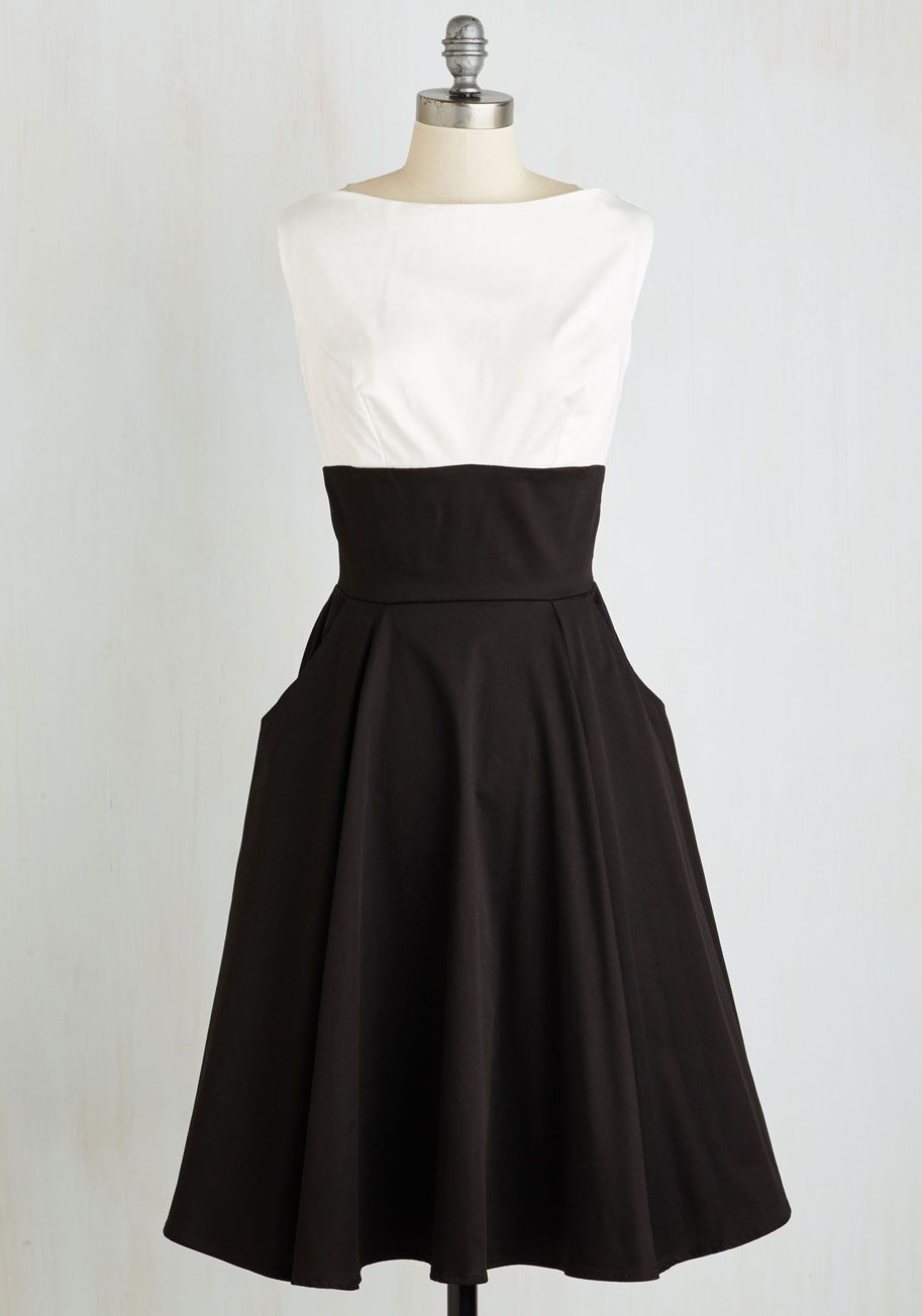 Timeless is on Our Side Dress. A dress as classic as this two-tone wonder will forever be in fashion! #black #modcloth
