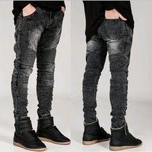 192eeb8a60 2015 moda flaco corredores para hombre del motorista de la motocicleta  vaqueros delgados del dril de algodón pantalones Cargo hombres negro Ripped  ...