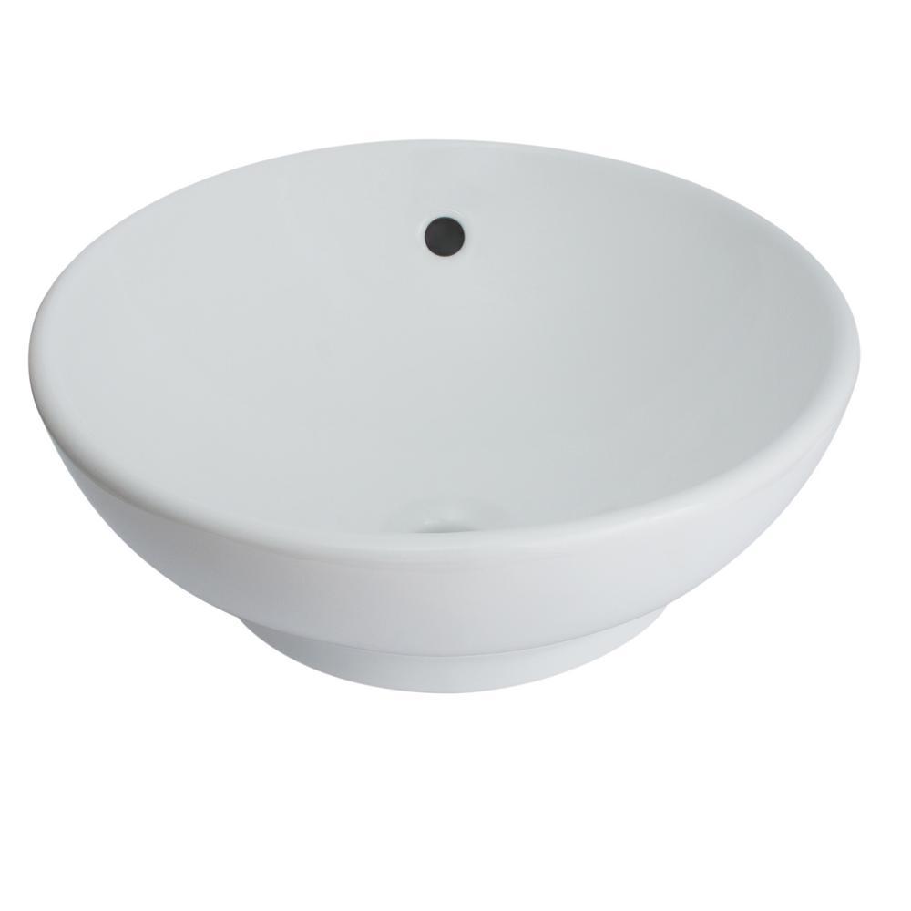 Glacier Bay Zale Round Vessel Sink In White 13 0089 W The