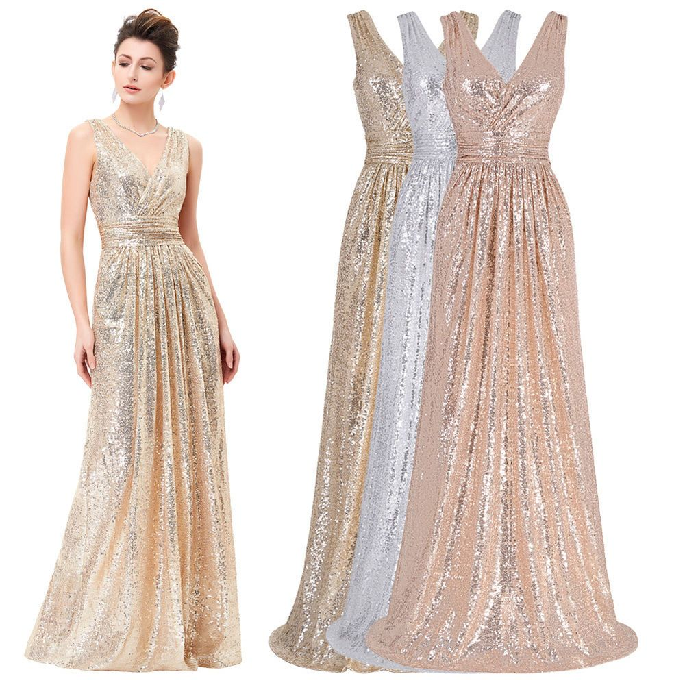 0770f2c7ecc4 Sequins Wedding Prom Ball Gown Formal Evening Party Long Maxi Bridesmaid  Dress #KateKasin #BallGown #Cocktail