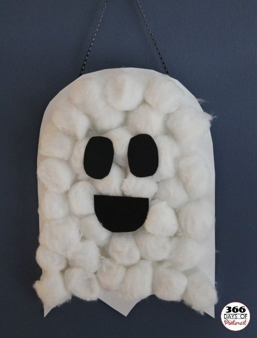 Cute DIY Halloween project for the kids to make! Cotton Ball Ghosts - Fall Crafts for Kids