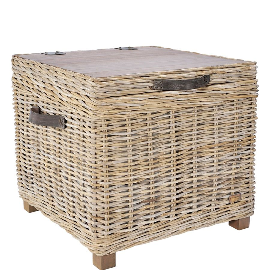 Handcrafted Timber Rattan Storage Side Table Side Table With