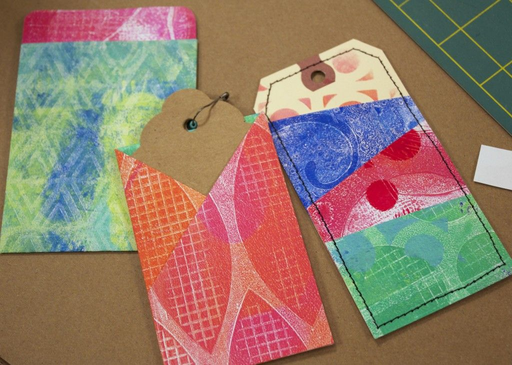 Gelli Scrap Folio – Round 2! Then we wrapped up the day creating ALL SORTS of little pockets and secret hidey-holes to add to the folio for storing our favorite bits and pieces…