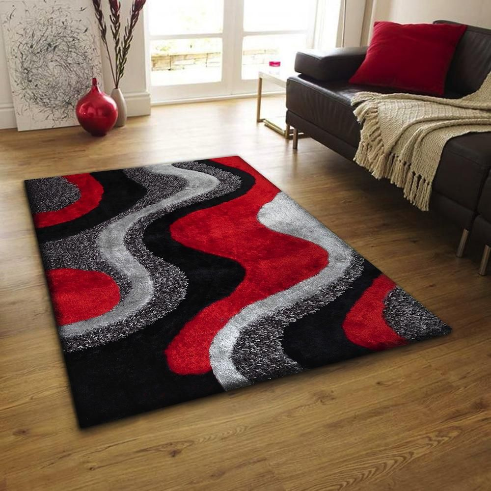 Red Black And Grey Rug Rugs In Living