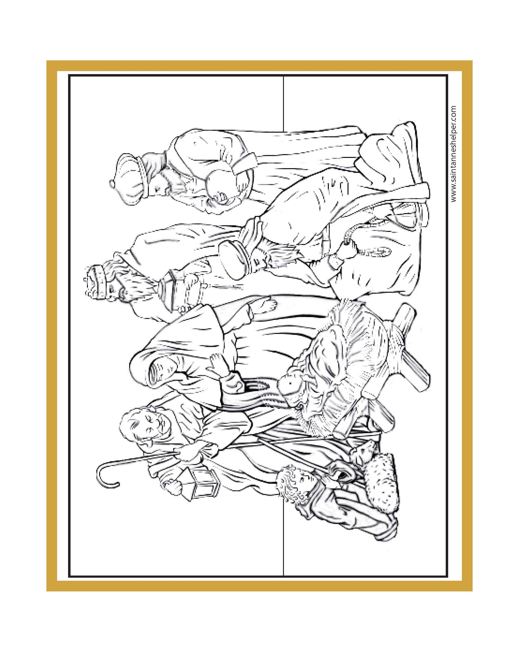 Printable Christmas Coloring Pages Jesus Mary Nativity Scenes