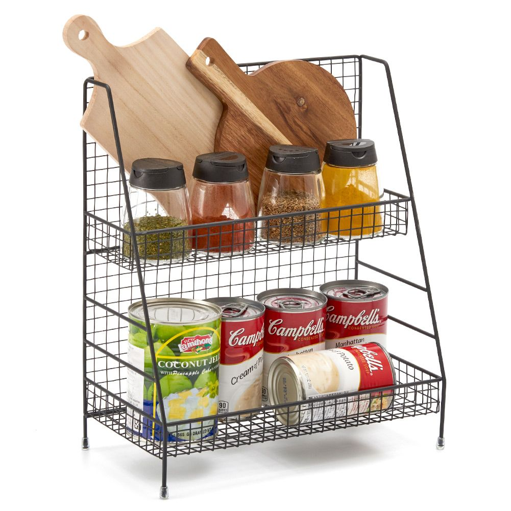2 Tier Organizer Rack Ezoware Wire Basket Storage Container Countertop Shelf For Kitchenware Bathroom Cans Foods E Office And More Black 0