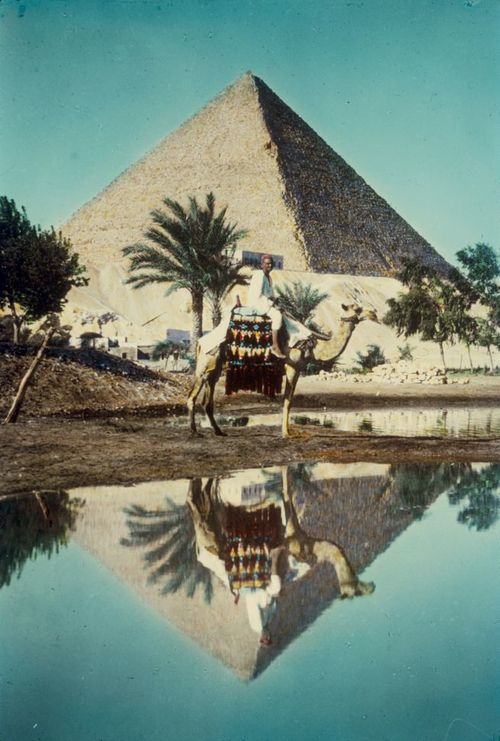 Pyramid and camel rider reflected in Nile overflow, Egypt, between 1950 and 1977, from the Matson Photo Service. (Library of Congress)