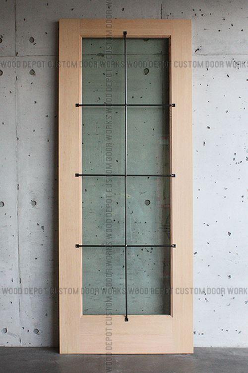 Wooden entrance door ID-752 Iron lattice Low-E