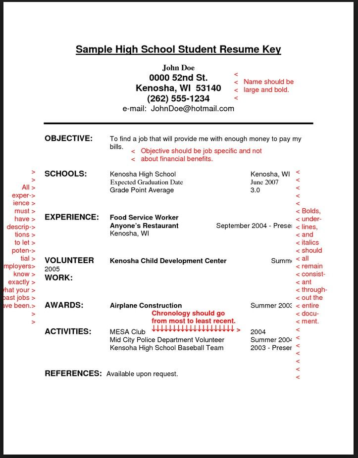 Sample Resume For High School Students With No Experience resume - job resumes for high school students