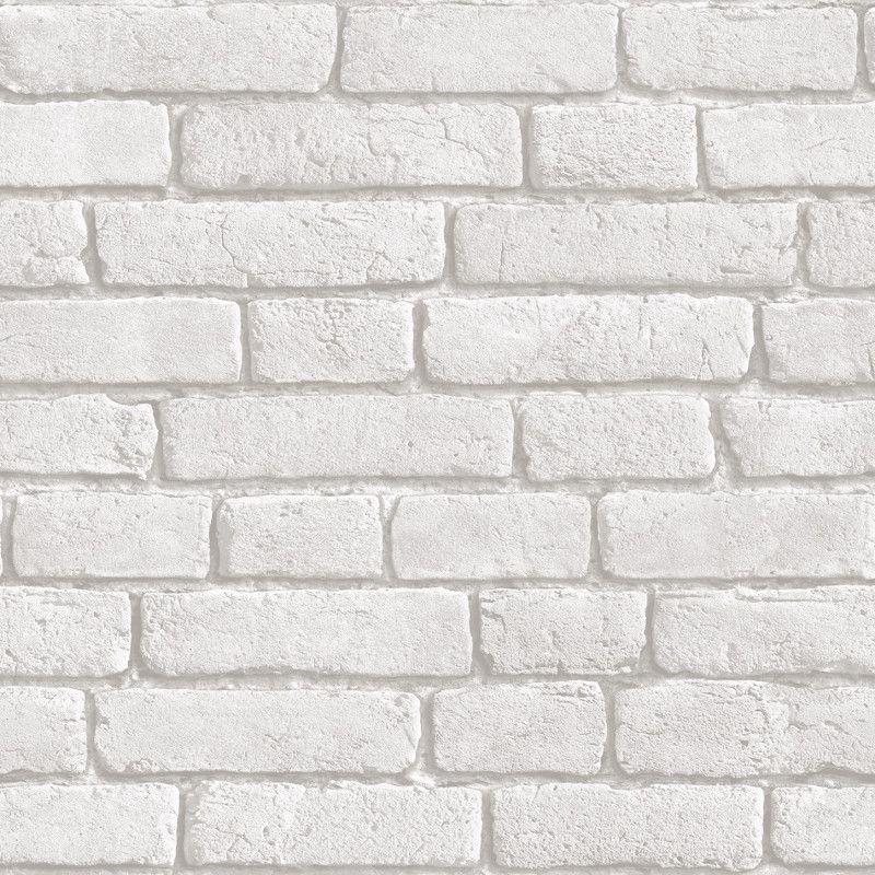 Muriva Brick 3D Effect Wallpaper in White J30309 White