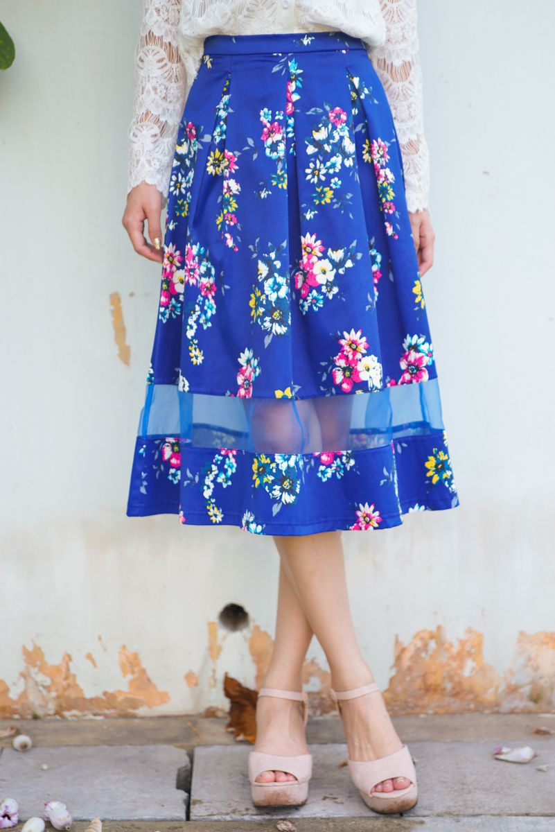 Premium* TCL Going Organza Midi Skirt in Florals | The