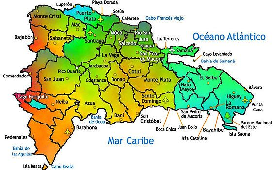 TishgagnegmailcomDominican Republic Map with cities airports