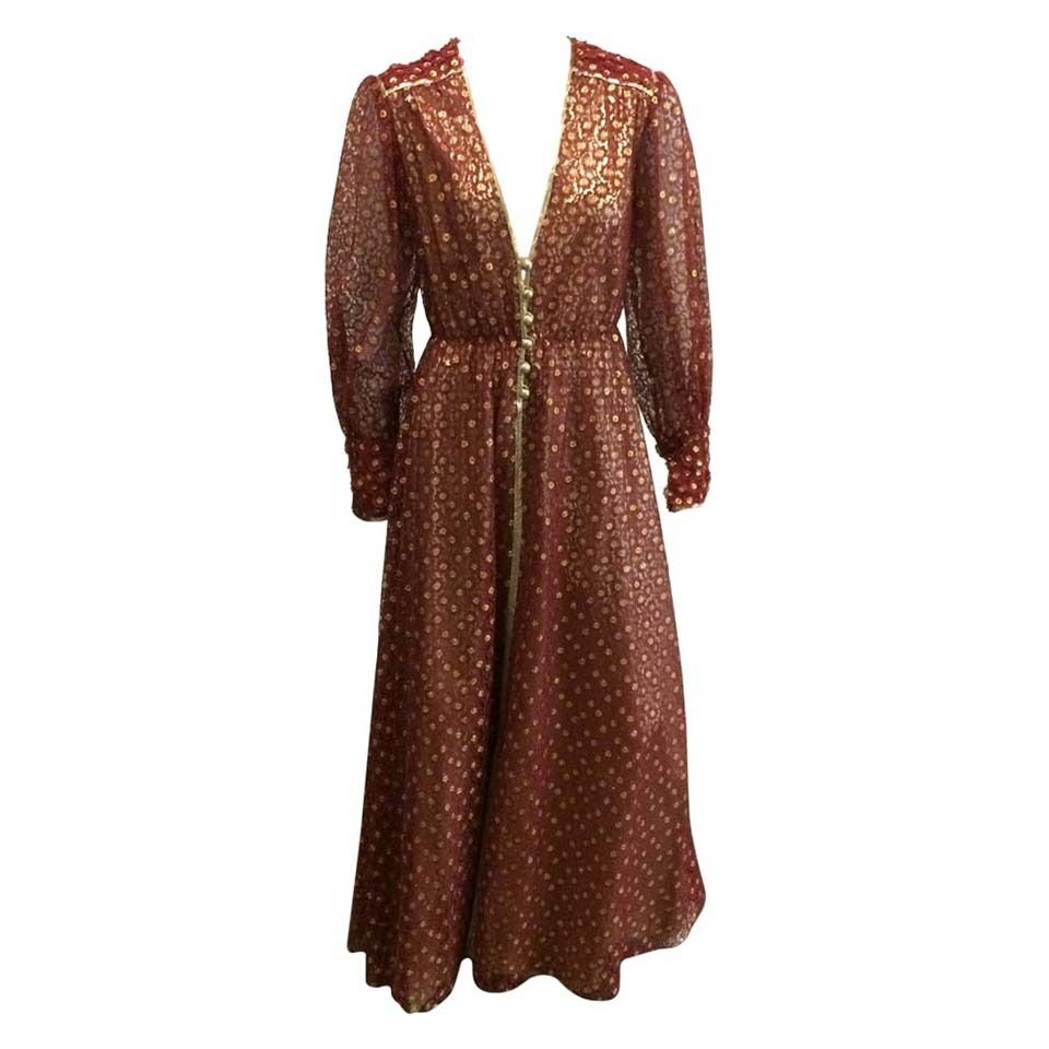 Norman Hartnell 60s lace & lame gown size 6. 1 in 2019