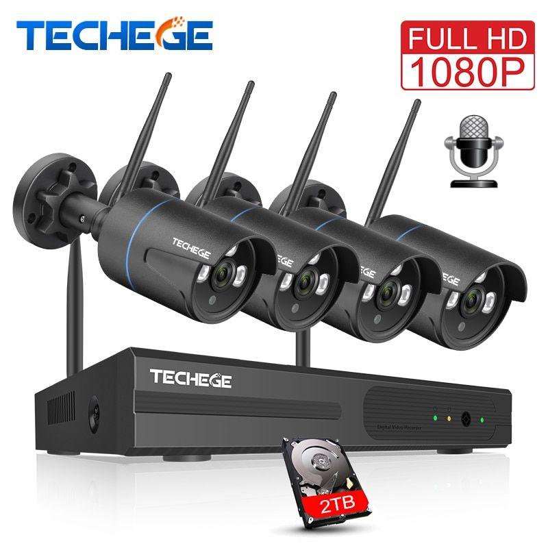 Techege Wireless CCTV System 1080P Audio Record 2MP 4CH NVR