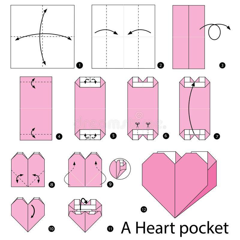Photo of Instrucciones Paso A Paso Cómo Hacer Papiroflexia Un Bolsillo Del Corazón Ilustración del Vector – Ilustración de paso, corazón: 69548594