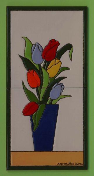 mural azulejos ceramica flores