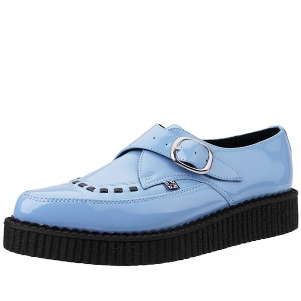 4e24e0f51cb5de T.U.K. Shoes Baby Blue Patent Buckle Pointed Creeper