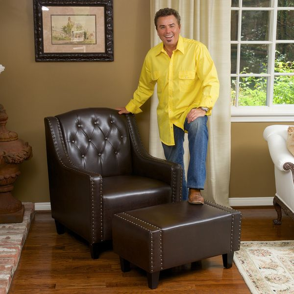 christopher knight home elaine tufted brown leather club chair and