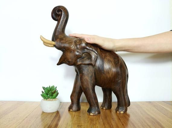 Large Wood Elephant Figurine Vintage Elephant Statue Carved Wood