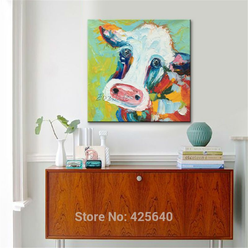 Click to Buy \u003c\u003c Canvas cow painting pictures living room modern oil