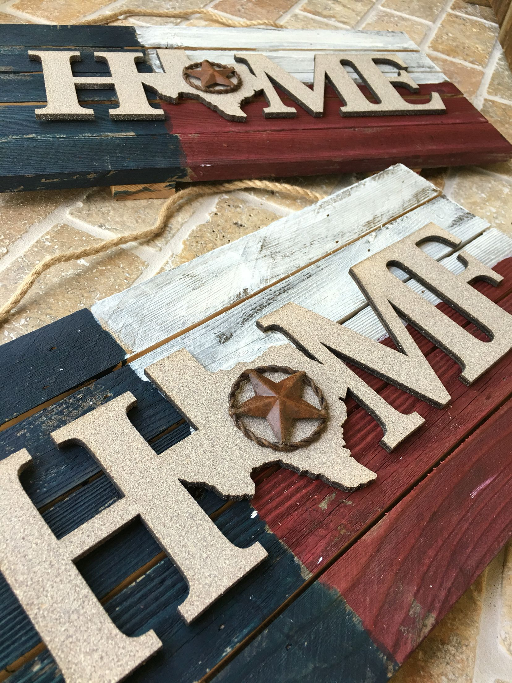 Home Texas Flag Handmade Distressed Wood Home Sign At