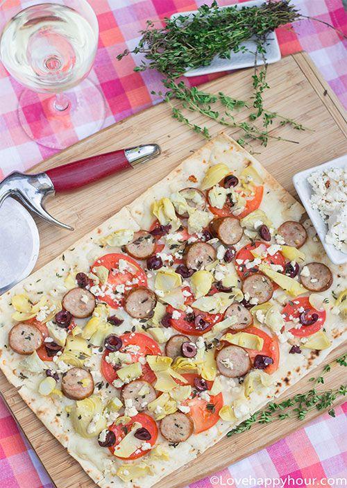 """""""Skinny"""" Greek Lavash Pizza  #recipe #pizza #Greek"""
