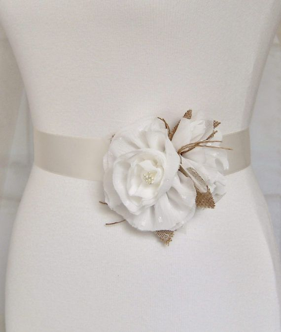 Rustic Floral Wedding Dress Sash Belt Country Chic Floral Bridal
