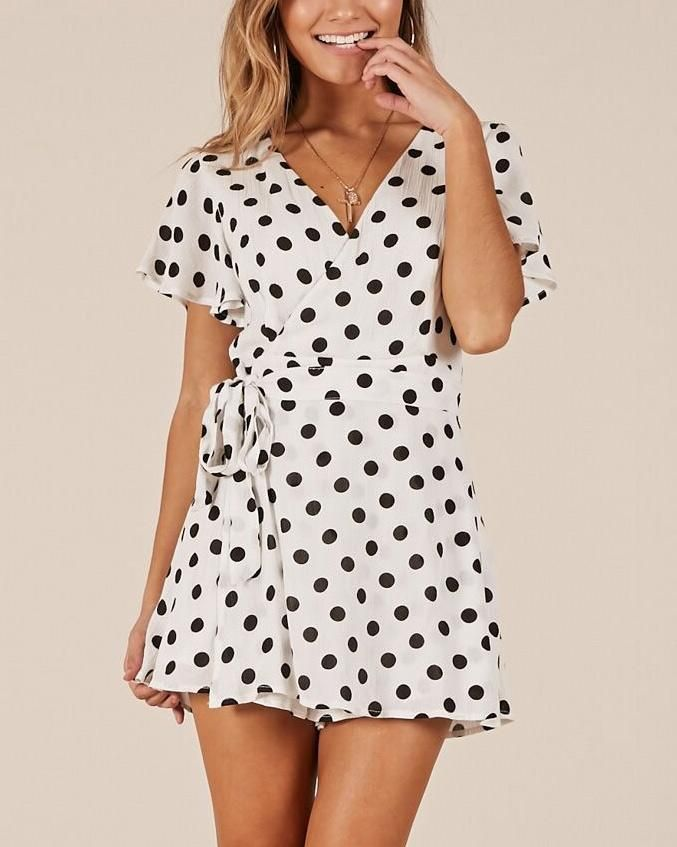 144cc77b0afa Girl On Fire Belted Polka Dot Playsuit - White in 2019