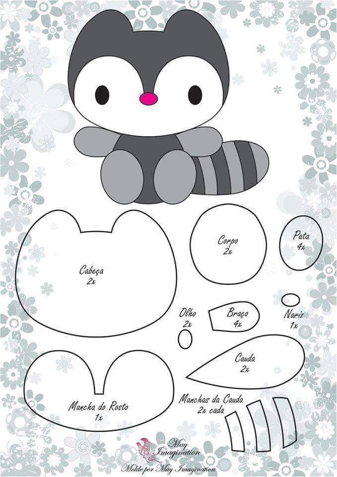 Pattern for a cute little felt raccoon. | Quiet book ideas | Fieltro ...