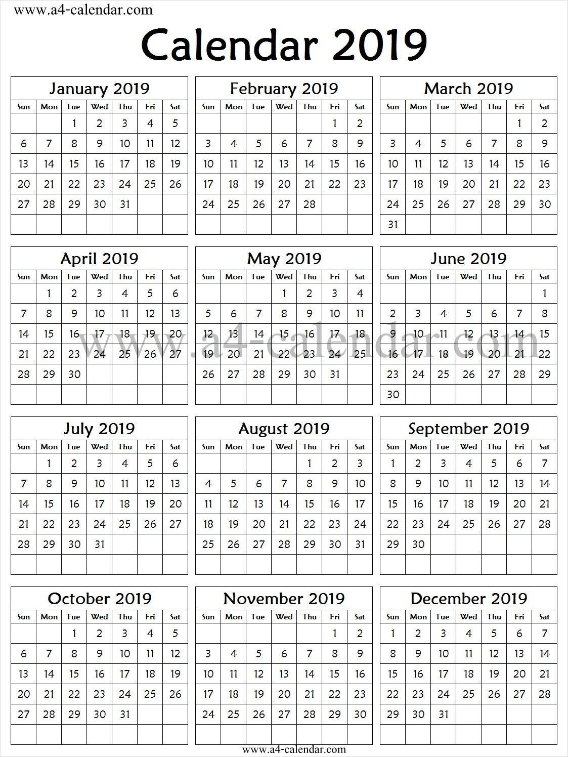 2019 Calendar One Page Vertical | 2019 Calendar Template