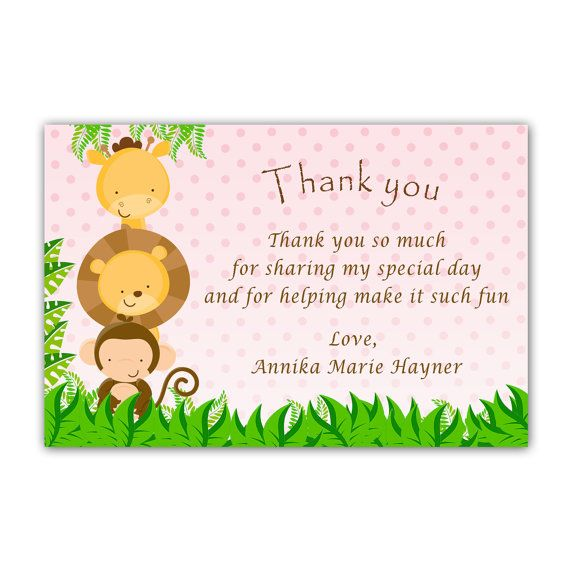 Jungle Thank You Card Baby Girl Shower Jungle Baby Shower