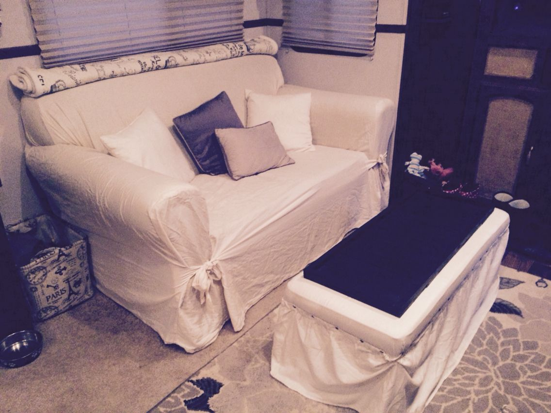 Instead of replacing ugly RV furniture buy a cover for them Great