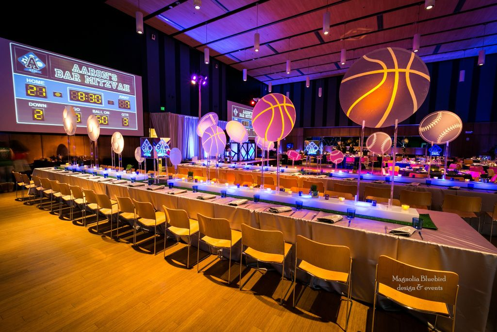 sports themed party basketball Bar mitzvah centerpieces