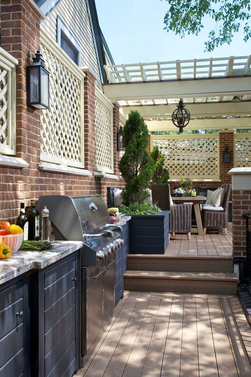 traditional deck with trellis outdoor kitchen on outdoor kitchen on deck id=79811