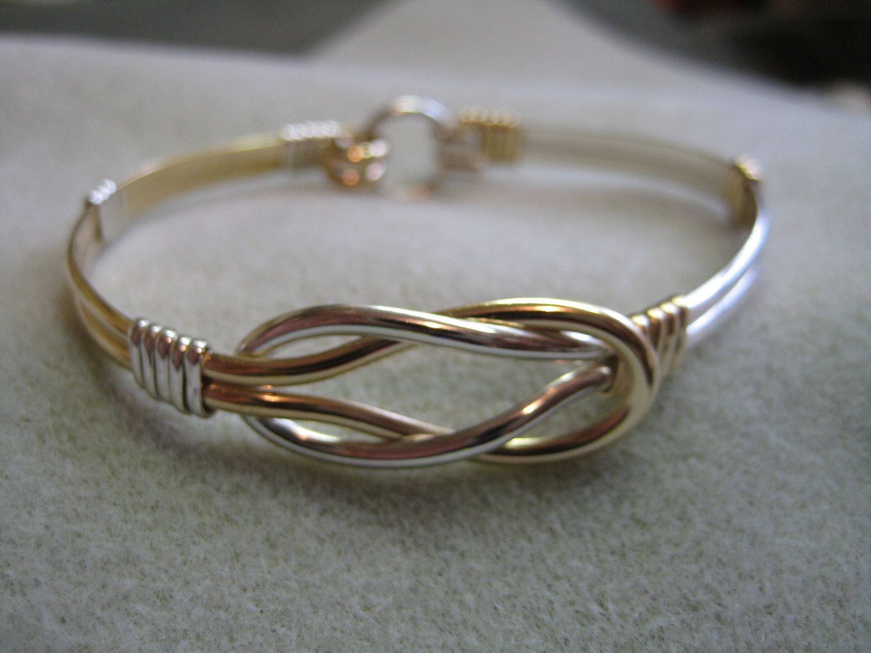 LOVE KNOT Bracelet, Celtic, two tone,14 K Gold Filled & .925 ...