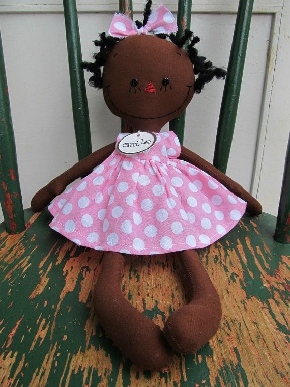 cloth rag doll African American handmade Olivia in Pink and White ...