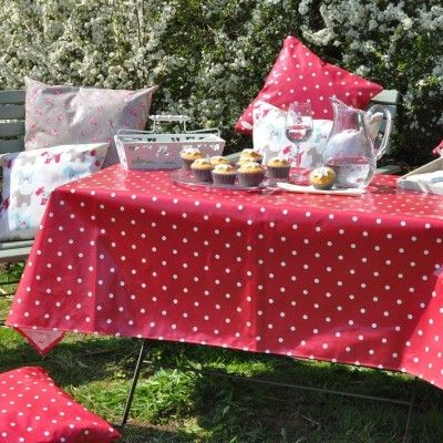 Perfect English Country Garden With Our Dotty Spotty Tablecloth In Red Superb Quality And Finish For 60 Plus Post Ng