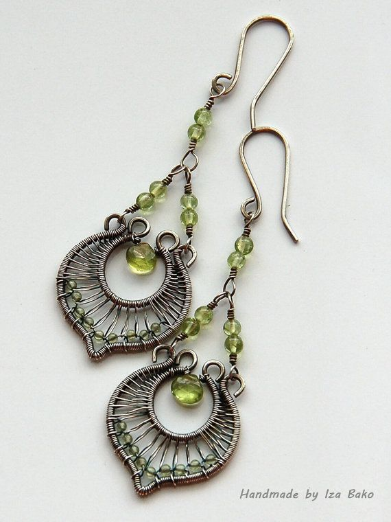 Handmade elegant original wire wrapped sterling silver handmade elegant original wire wrapped sterling silver chandelier earrings with peridot gemstones via mozeypictures Choice Image