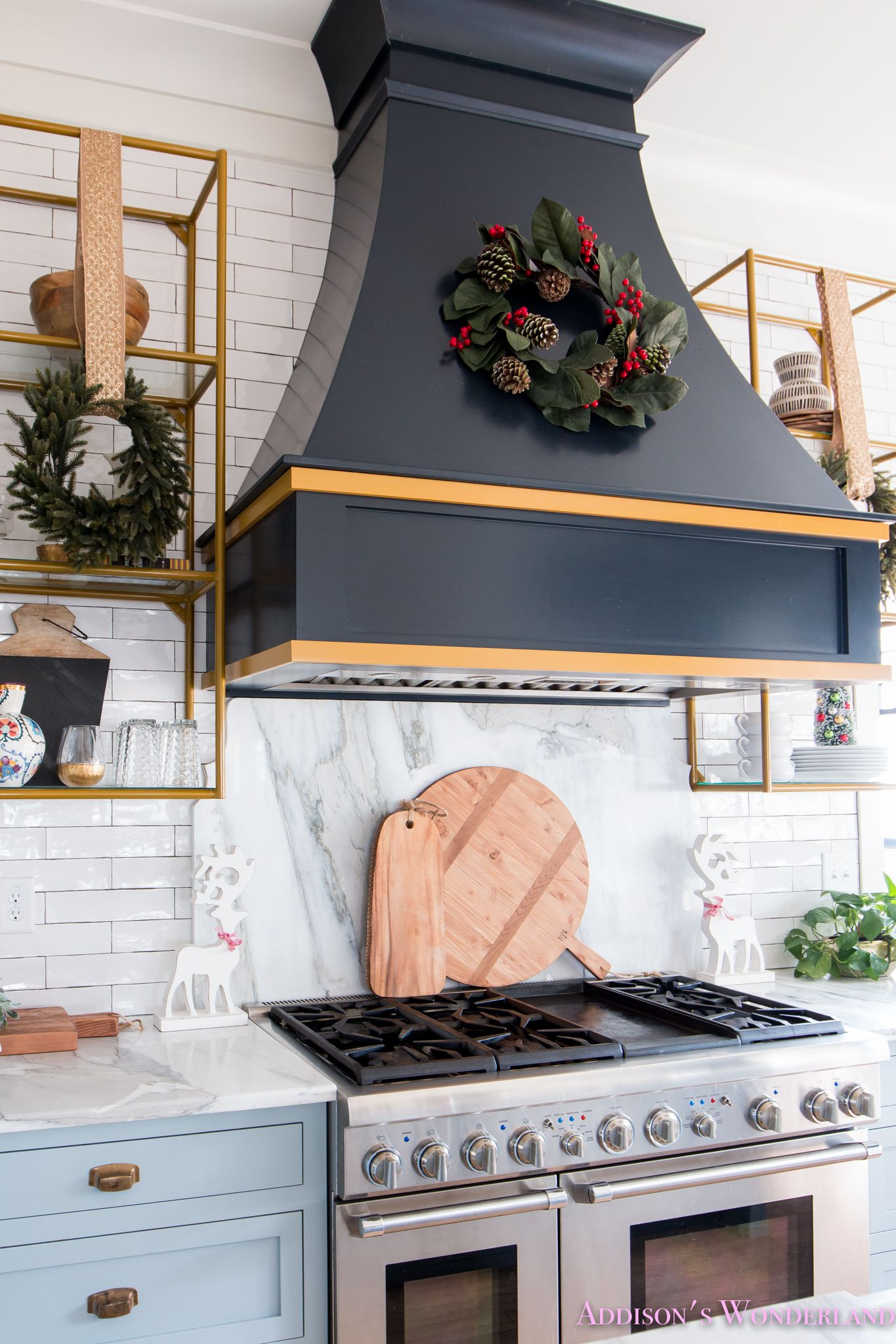 Inside Our Vintage Modern Style Holiday Kitchen with HomeGoods... Sponsored by HomeGoods. kitchen-powder-blue-gray-cabinet-color-white-marble-countertops- ... : holiday kitchen cabinet - hauntedcathouse.org