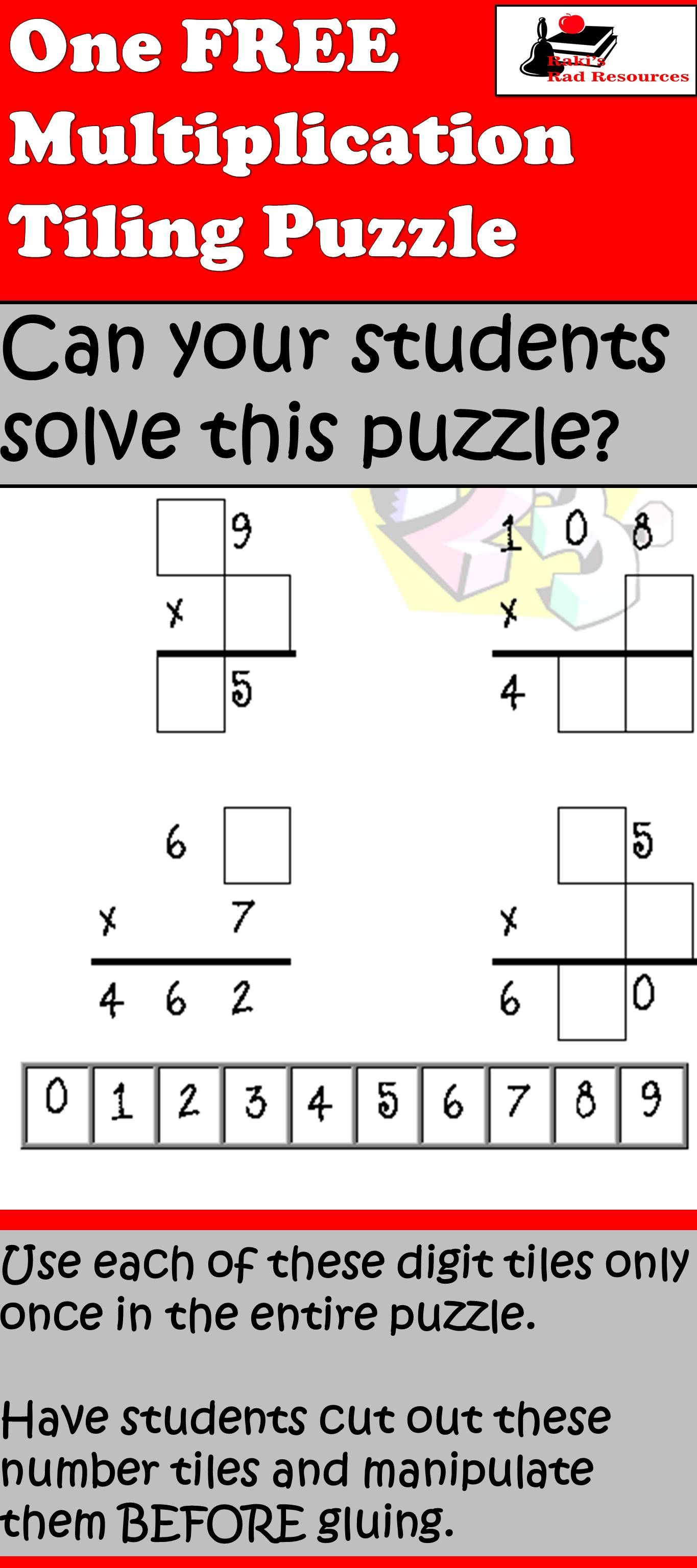 Free Multiplication Tiling Puzzle For 2 Or 3 Digit Numbers By 1 Use