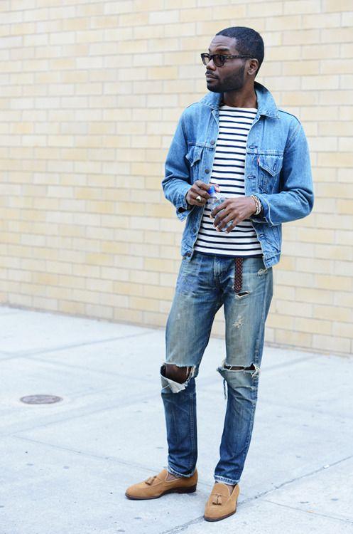 Effortless Fashion Style Men Tumblr Streetstyle Striped Shirt Jeans