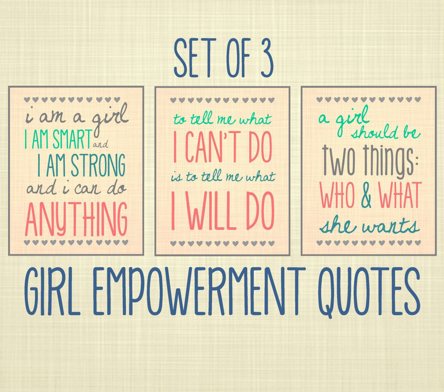 Girl Empowerment Quote Art, Set of 3- Kids Wall Art, Nursery Art ...