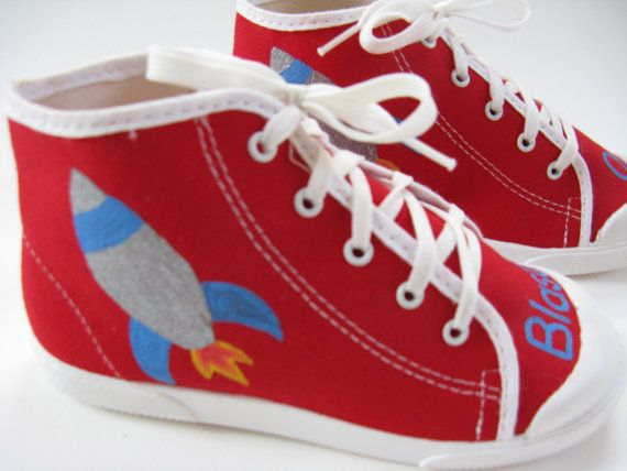706c4621c6bde Rocket Ship Shoes, Red Hi Top Spaceship Sneakers Hand Painted for ...
